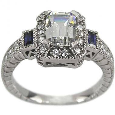 Mariage - Emerald Cut Diamond Art Deco Ring Diamond Engagement Ring Diamonds & Sapphires