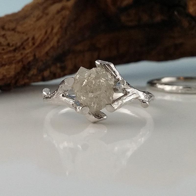 زفاف - 14k Yellow/White or Rose Gold Raw Uncut Rough Twig Diamond (Solitaire Only) Engagement Ring, wedding ring, Promise Ring by Dawn Vertrees