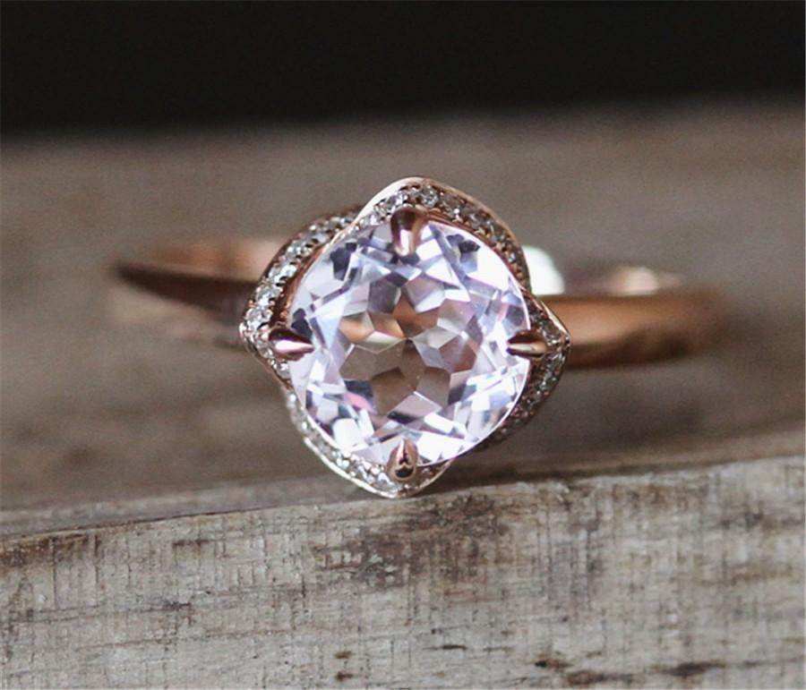 Свадьба - Floral Halo Diamonds Ring Rose Shape Plain Gold Engagement Ring VS 6.5mm Round Cut Morganite Ring Stackable 14K Rose Gold Ring Gemstone Ring