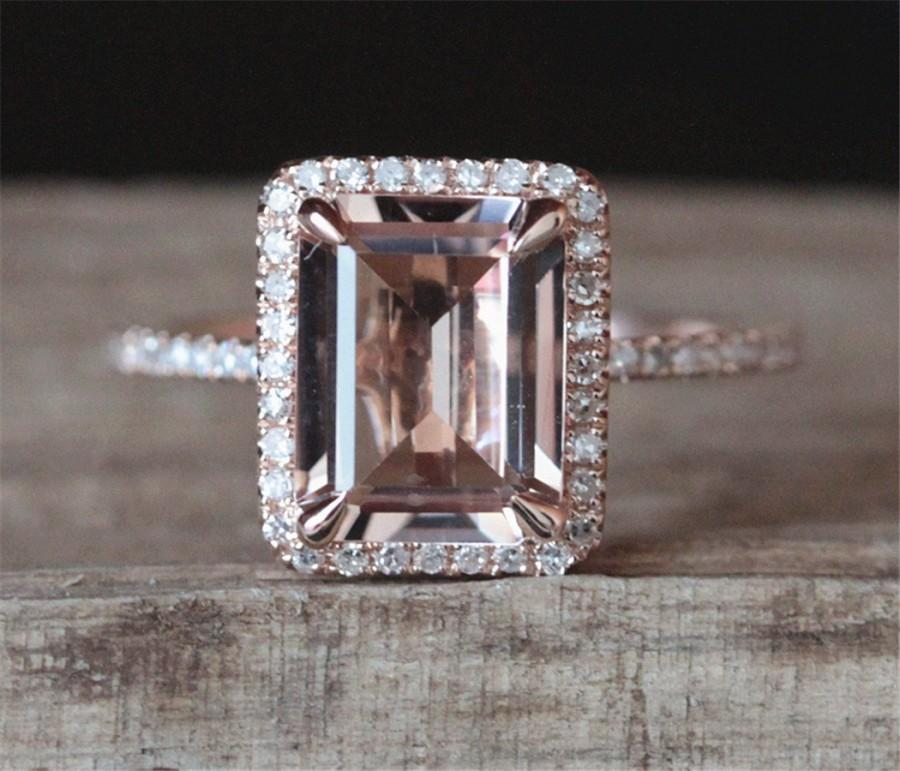 8mm Round Cut Morganite /& Diamond 14k Rose Gold Over.925 Sterling Silver Foral Engagement Ring Half Eternity Band for Womens