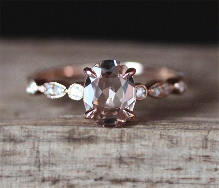 Свадьба - VS 5*7mm Oval Cut Morganite Engagement Ring Pave Diamond Ring 14K Rose Gold Ring Wedding Ring Promise Ring Milgarin Anitque Art Deco Ring