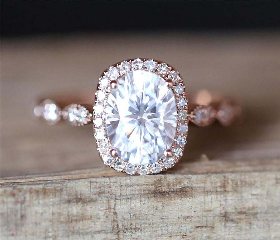 Свадьба - Vintage C&C Moissanite Engagement Ring 6*8mm Oval Cut Forever One Moissanite Ring Halo Ring Stackable Ring Art Deco Ring 14K Rose Gold Ring