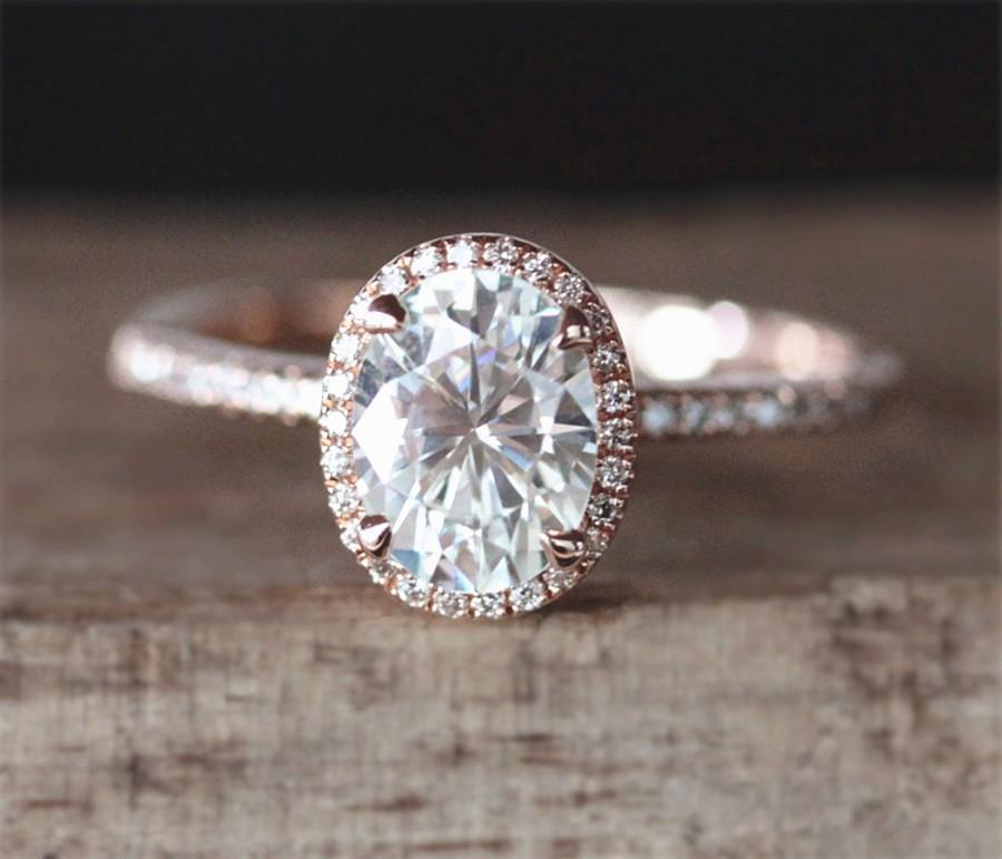 Свадьба - Charles&Colvard Moissanite Engagement Ring 6*8mm Oval Forever One Moissanite Ring Halo Diamonds Stackable Ring 14K Rose Gold Engagement Ring