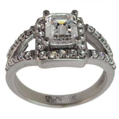 زفاف - Diamond Engagement Ring 1 Carat Diamond Ring Emerald Cut Diamond 14k White Gold