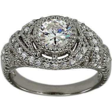 Свадьба - Vintage Art Deco Diamond Engagement Ring 1.00 Carat Round Center Diamond With Milgrain Details In 14K White Gold