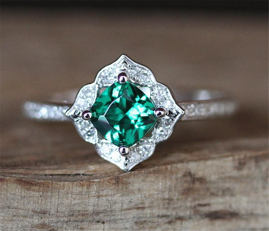 Свадьба - Vintage Emerald Engagement Ring Floral Halo Diamonds Ring Treated 5MM Cushion Cut Emerald Ring Art Deco Gemstone Ring 14K White Gold Ring