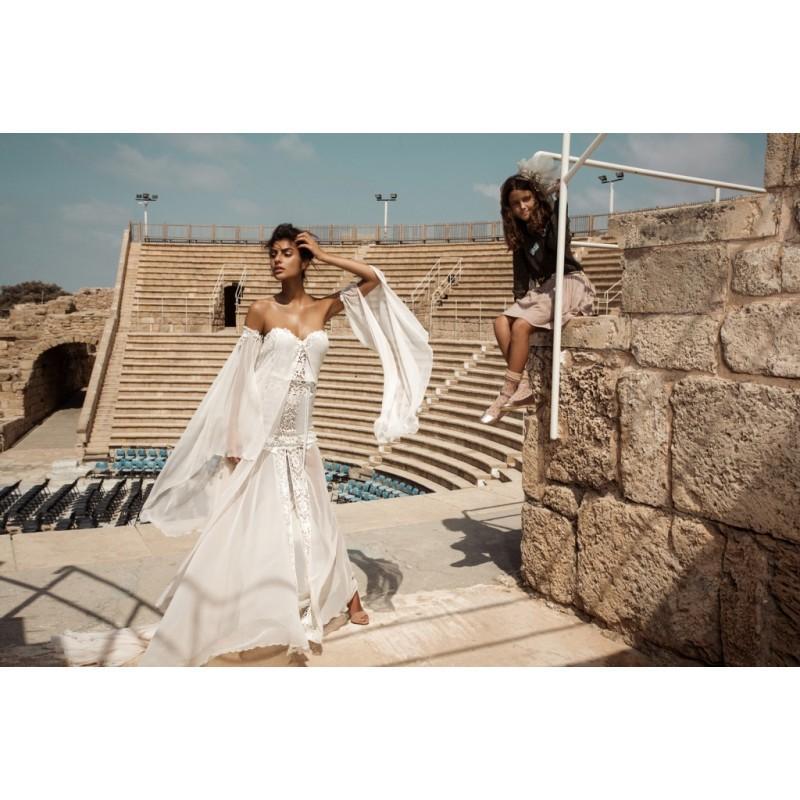 Wedding - Gala by Galia Lahav 2017 GALA-806 Sweetheart Ivory Long Sleeves Trumpet Vogue Chapel Train Split Front Chiffon Bridal Gown - Color Your Classy Wardrobe