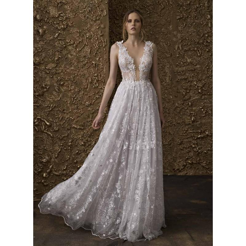 Wedding - Nurit Hen 2018 GT 14 Deep Plunging V-Neck Sleeveless Sweet Aline Ivory Sweep Train Spring Lace Hand-made Flowers Dress For Bride - Customize Your Prom Dress