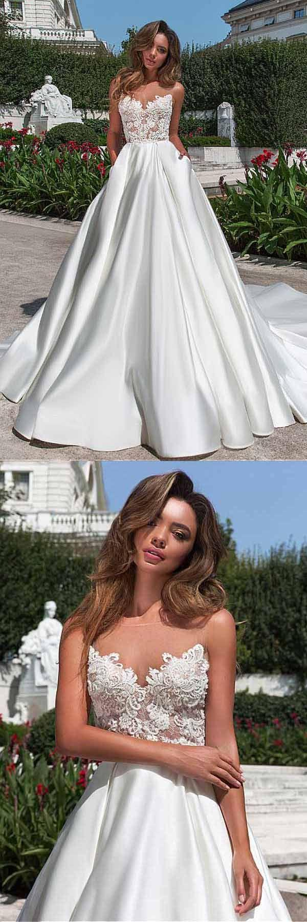 Mariage - Satin Neckline A-line Wedding Dress With Pockets Lace Appliques WD213