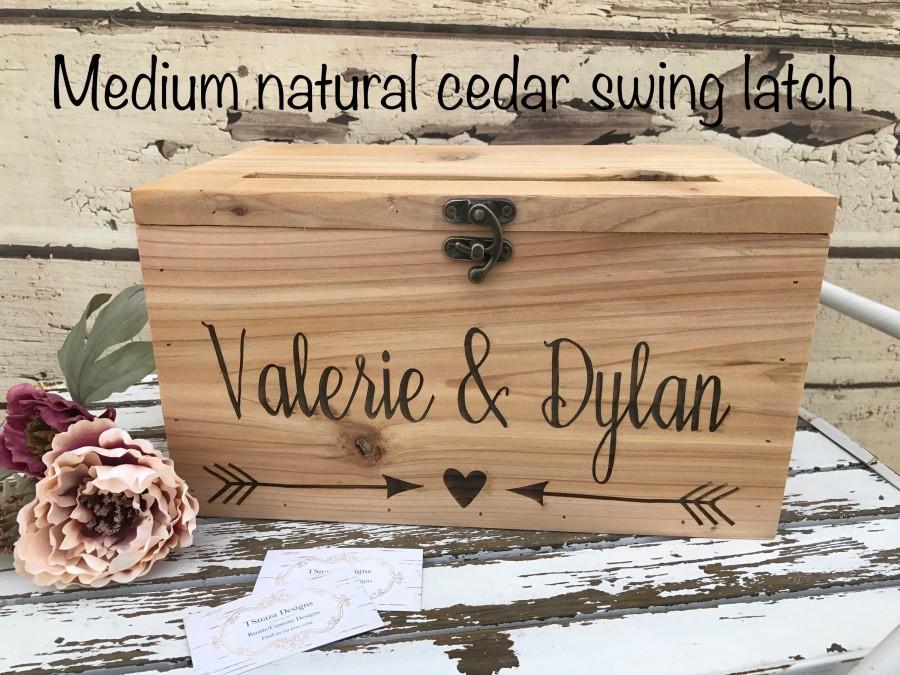 Hochzeit - Rustic Wood Card Box, Large Card Box,  Wedding Cards, Laser engraved Wedding card Box, Anniversary card box, Graduation Card Box