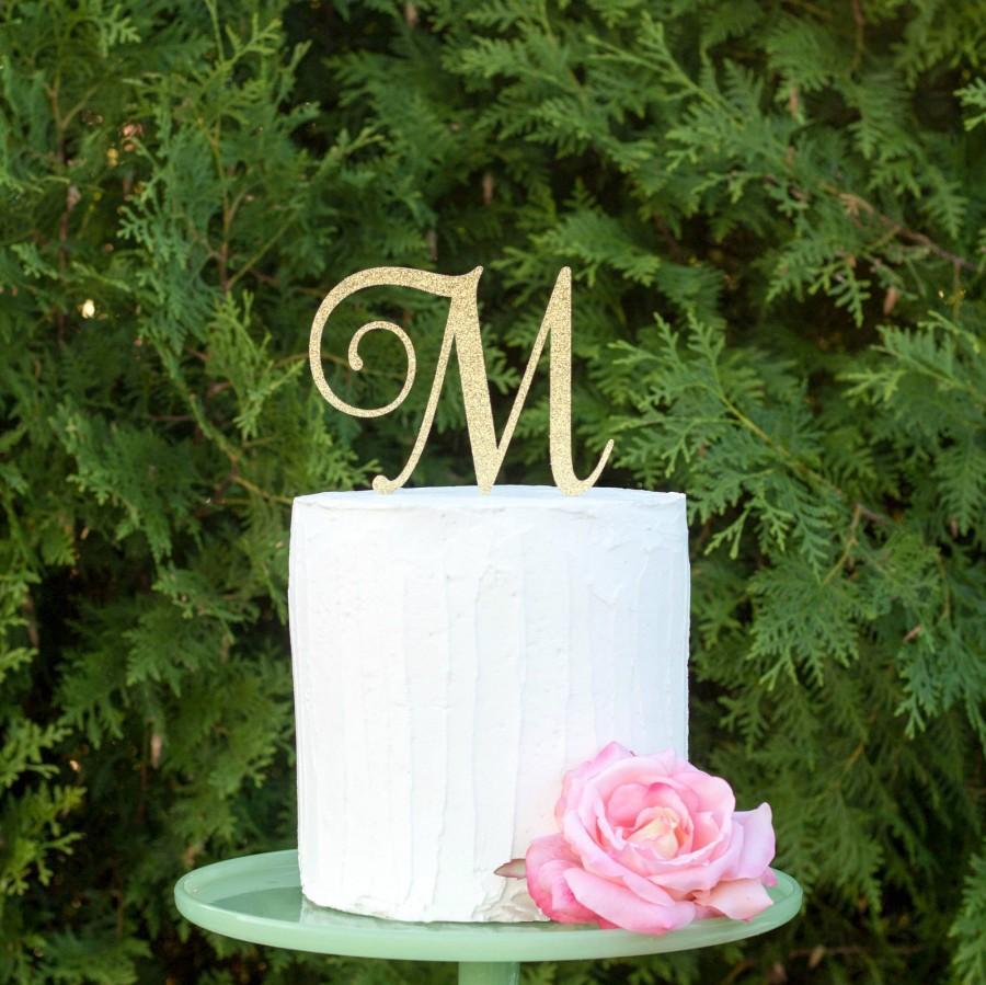 Hochzeit - Monogram cake topper, initial cake topper, single letter cake topper, wedding cake topper, monogram cake topper for wedding, gold cake top