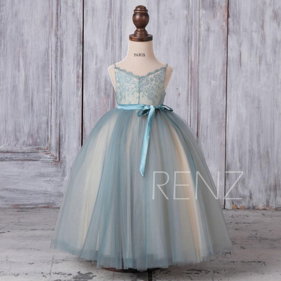 Flower Girl Dress Dusty Blue Tulle Dress,Spaghetti Strap Lace Baby ...