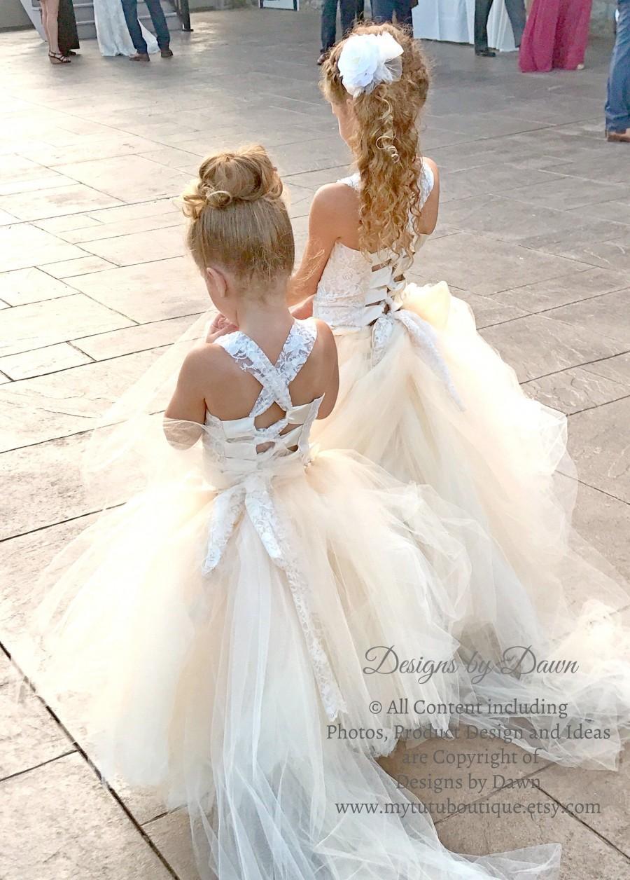 زفاف - Champagne Flower Girl Dress. Lace overlay Dress. Country Dress. Vintage Dress. Rustic Dress. Lace Dress. Mini Bride Dress. Jr Bride Dress
