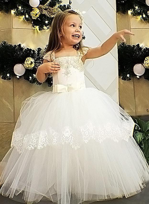 زفاف - Ivory Flower Girl Dress Ivory Wedding Lace Girl Dress Pattern Girl Party Dress Wedding Party Dress Christmas Dress Holiday Dress Tulle Dress