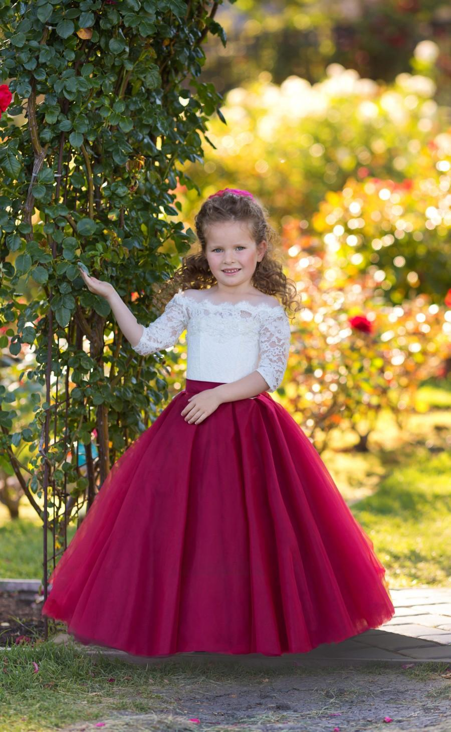 زفاف - Flower Girl Dress Burgundy Wedding A-line Lace Girls Dress Ivory Lace Off Shoulders Tulle Dress Fancy Dress Girls Party Dress Princess Dress