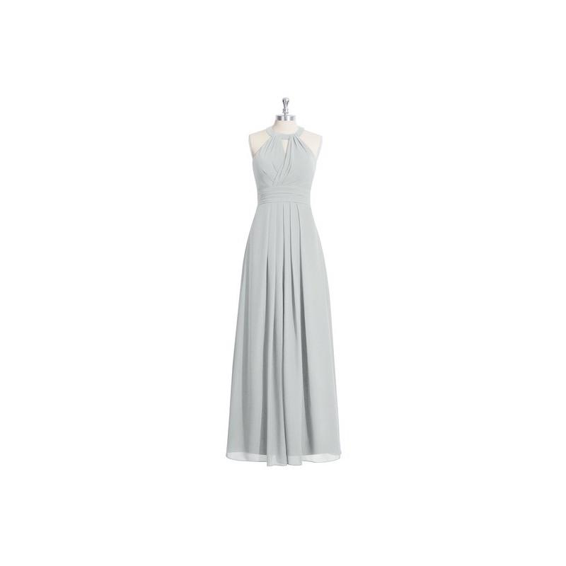 Mariage - Silver Azazie Abbey - Chiffon Floor Length Halter Strap Detail Dress - Charming Bridesmaids Store
