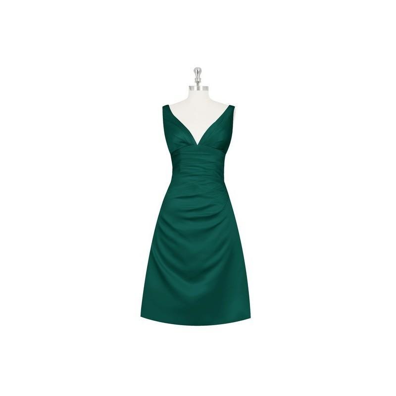 Mariage - Dark_green Azazie Haylee - Knee Length Back Zip V Neck Satin Dress - Charming Bridesmaids Store