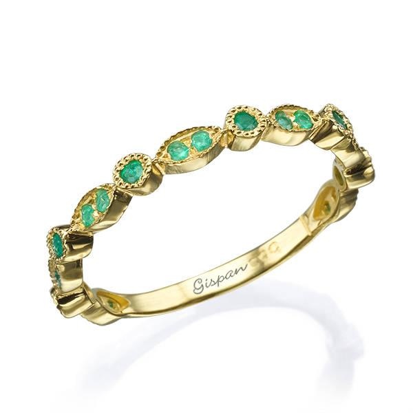 Hochzeit - Green Emerald Ring, Eternity Ring, Eternity Band, Green Ring, Promise Ring, Gemstone Ring Gold, Yellow Gold Ring, Wedding Band,