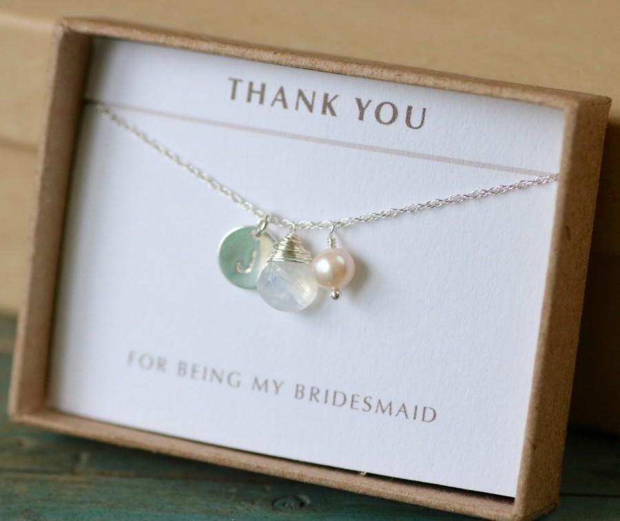 Hochzeit - Personalized moonstone necklace, personalized bridesmaid gifts, initial necklace, bridesmaid necklace, June birthstone jewelry - Ella