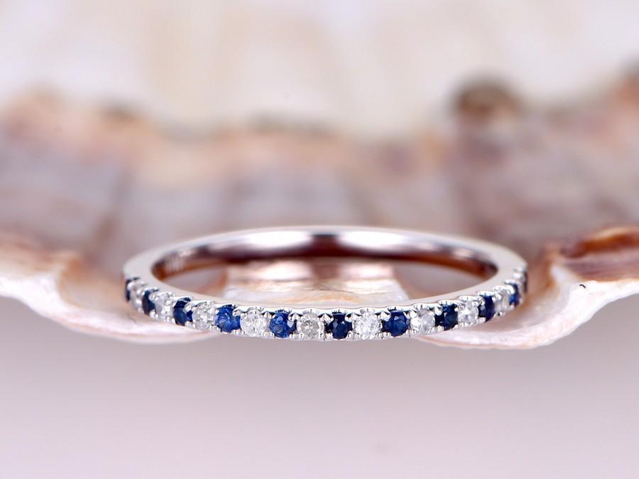 911dbd1f967 Natural sapphire diamond wedding band 14k white gold half eternity ring  engagement ring stacking matching band anniversary ring thin Pave