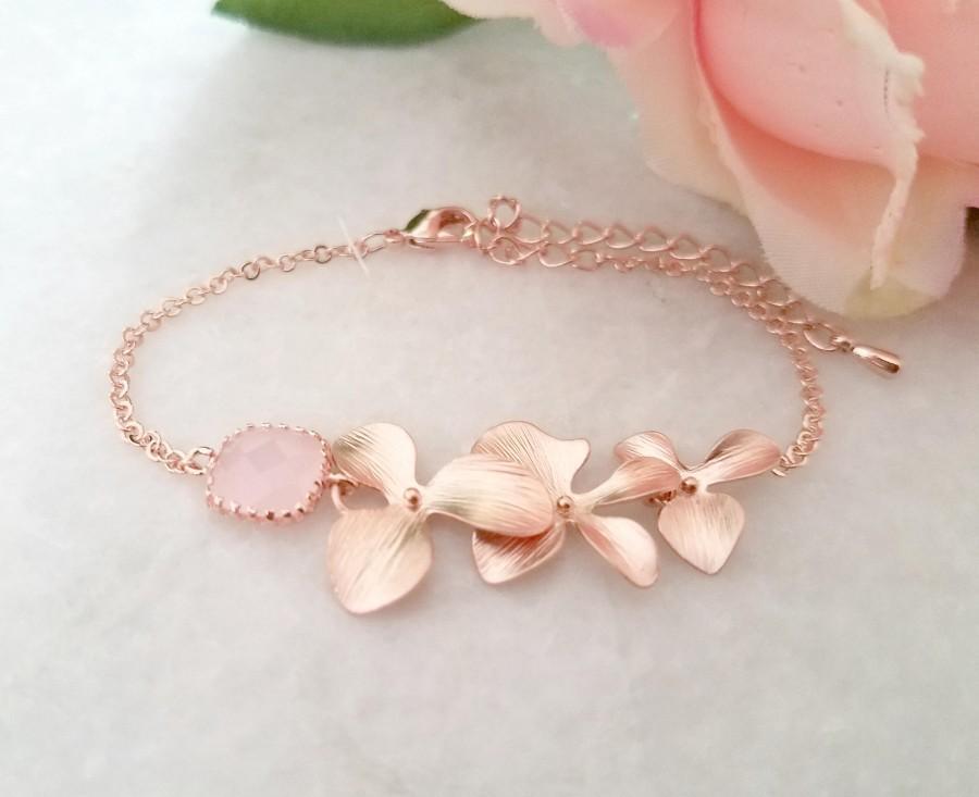 Wedding - Blush Pink ROSE GOLD Bracelet, Flower Bracelet, Clear, Champagne, Peach, Sapphire Navy, Orchid Bracelet, Wedding Bridesmaids Gift
