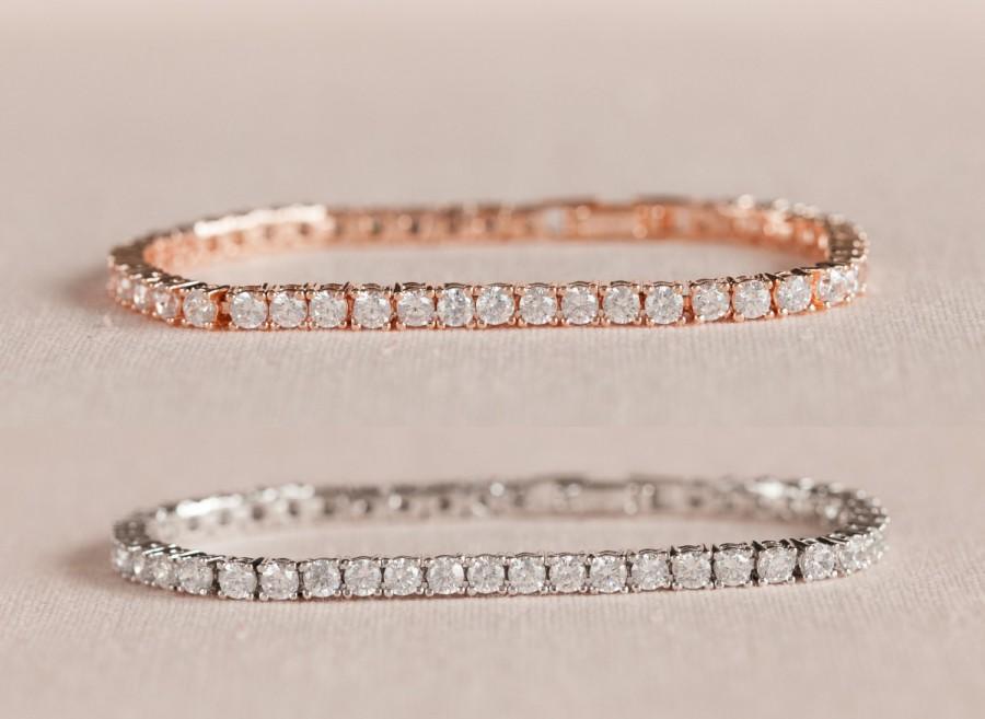 Свадьба - Crystal Bridal Bracelet, Crystal Tennis Bracelet, Rose Gold Stackable Bracelet, Bridesmaid Jewelry,  Brooklyn Crystal Bracelet