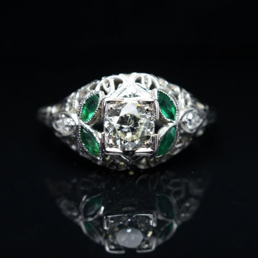 Wedding - SALE - Antique Late Edwardian 0.497 CT Diamond & Green Glass Engagement Ring 18k White Gold Wedding Ring Jewelry