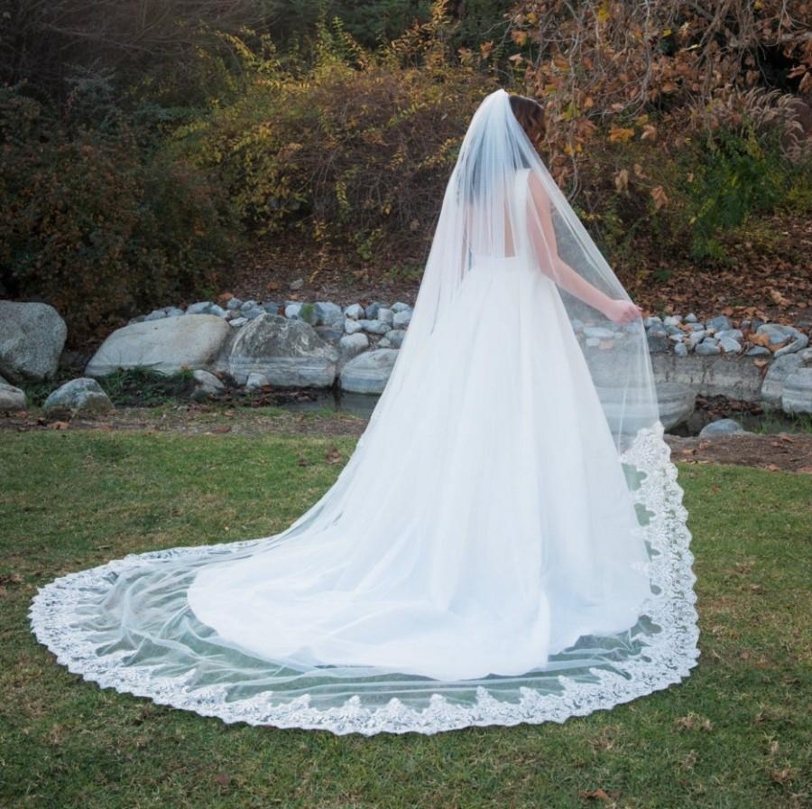 Wedding - Lace and Sequence Cathedral Length Veil
