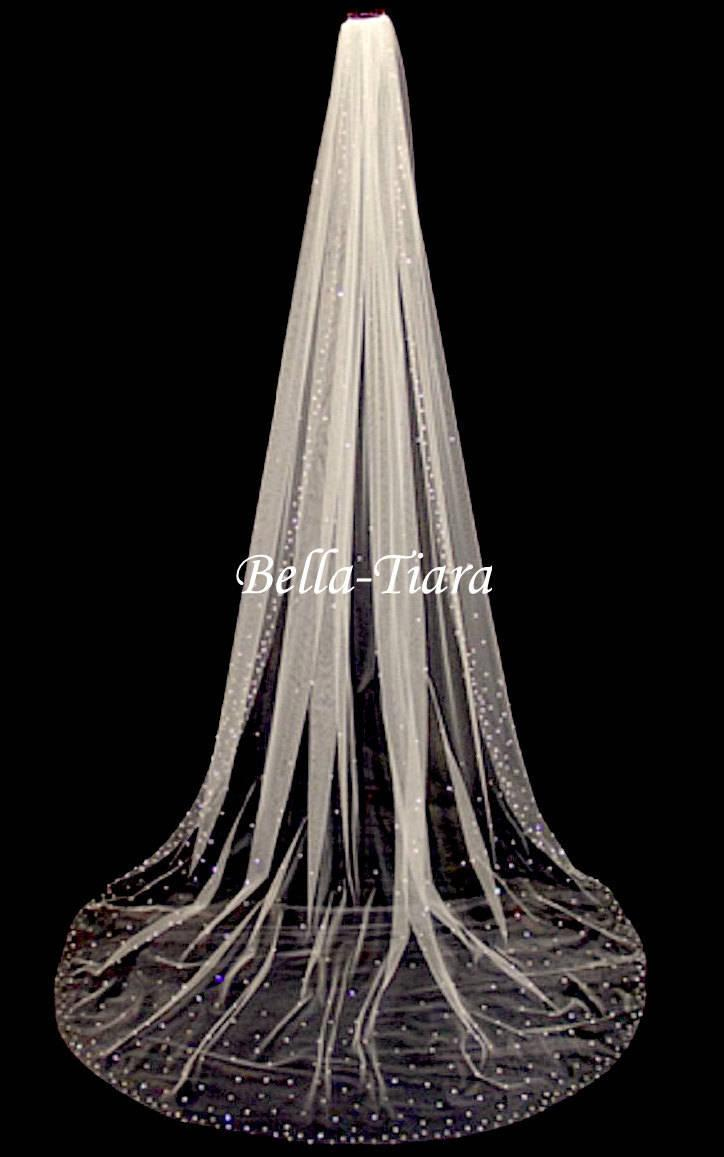 Hochzeit - cathedral crystal veil, cathedral veil, chapel crystal wedding veil, royal wedding veil, crystal edge wedding veil - FREE BLUSHER