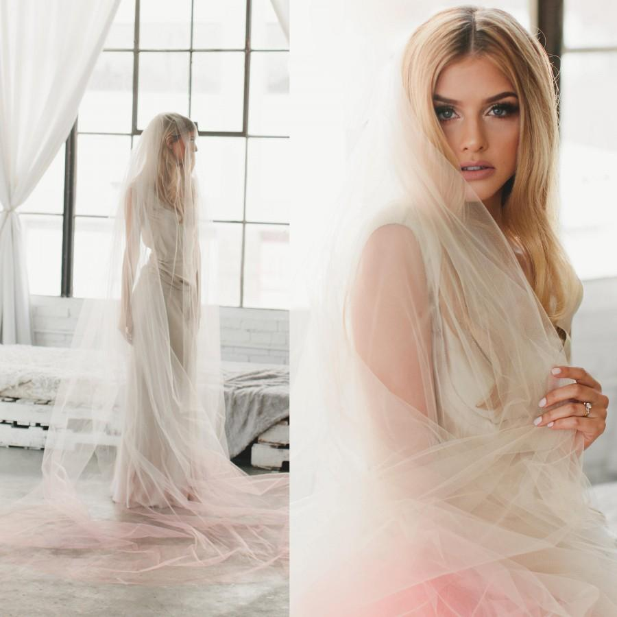 Wedding - Blush Veil to Match Ombre Wedding Dress, Fingertip Length Blush Pink Veil, Soft Wedding Veil, One Tier Veil, Bridal Veils, Soft Veil 1710