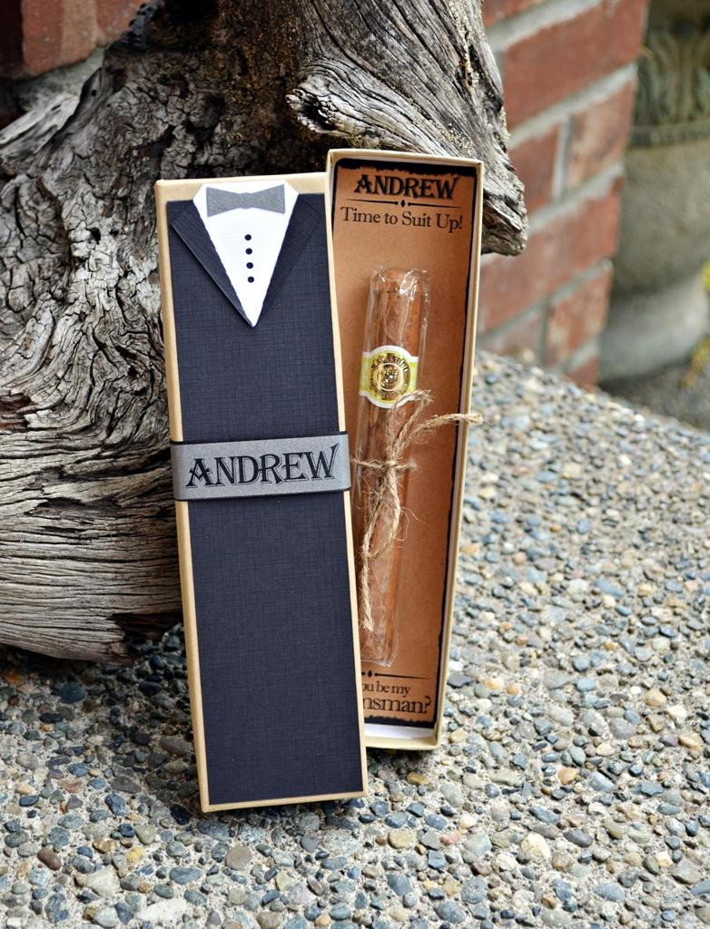 Mariage - Will You Be My Groomsman Cigar Box Tux Best Man Time To Suit Up Rustic Custom Gift