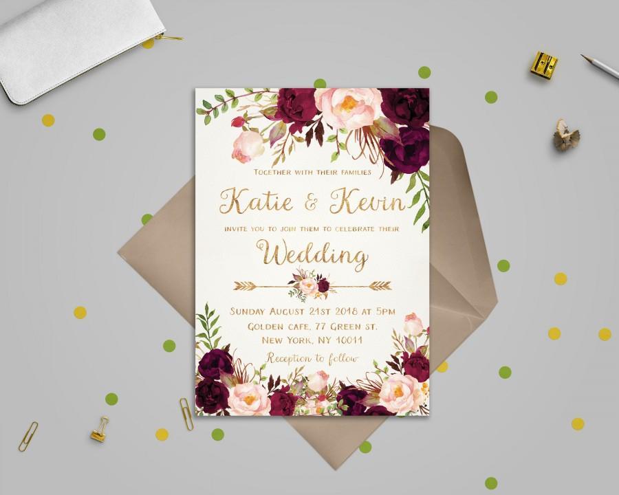 Свадьба - Floral wedding invitation template Wedding invitation Printable wedding invites set Wedding invitations set printable Printable invitations