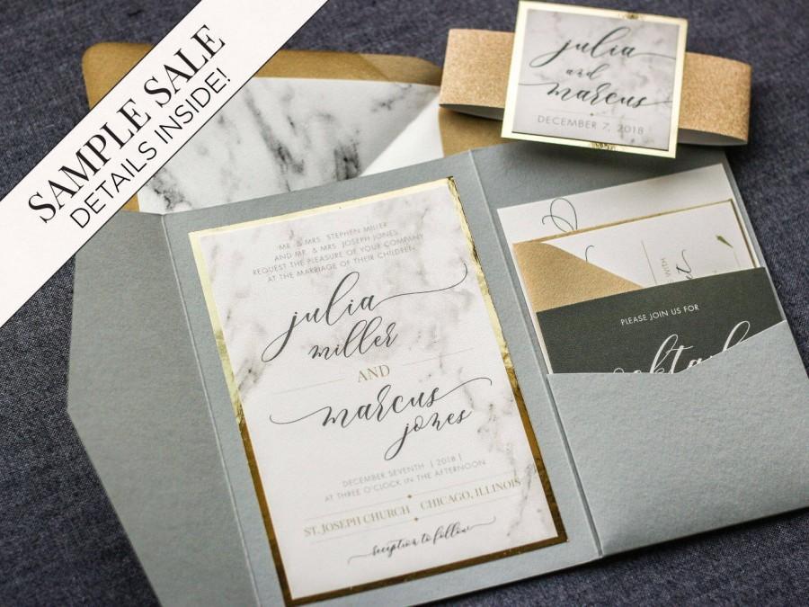 Diy Calligraphy Wedding Invitations: Wedding Invitation, Marble And Gold Foil Invitations