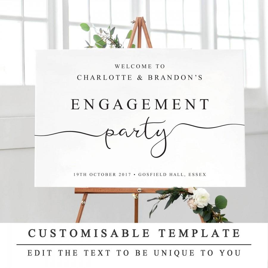 Personalised Engagement Party Sign, Printable Welcome To Our ...