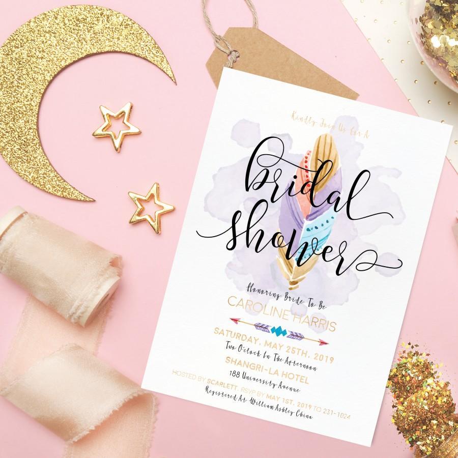 Mariage - Printable Wedding Invitation - Boho Feather Bridal Shower Invitation - Boho Wedding Calligraphy Invitation - Faux Gold Foil Wedding Feather