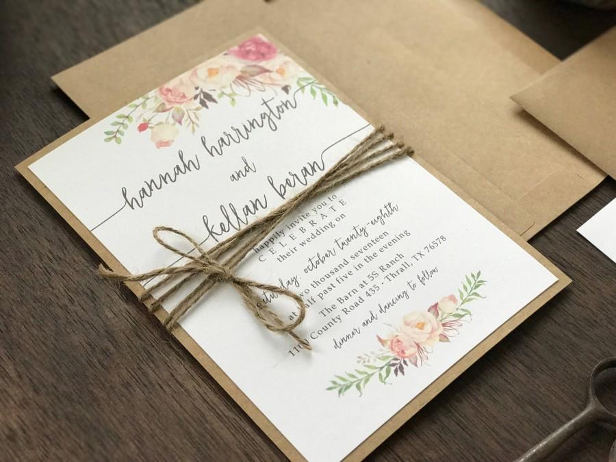 Hochzeit - Floral Wedding Invitation Set, Boho Wedding Invitation, Rustic Wedding Invitation, Calligraphy Wedding Invitation, Elegant Wedding Invite