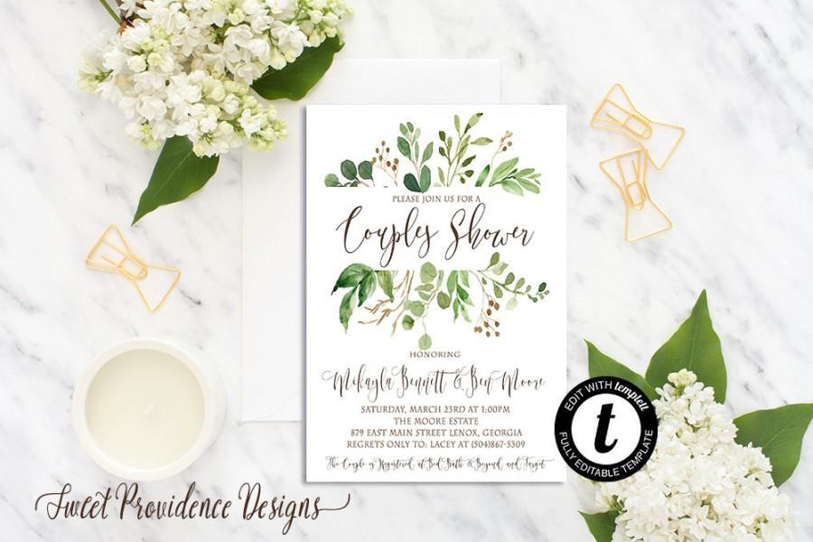 Mariage - Greenery Couple Shower, Couples Shower Invitation, Botanical Couples Shower, Printable Invitation, Editable Invitation, Instant Download