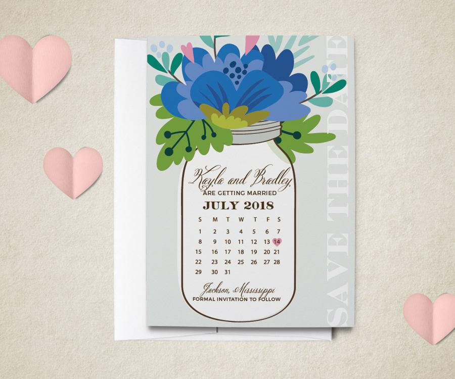 Mariage - Calendar Save The Date Magnet - Calendar and Mason Jar Wedding Save the Date Magnet - Custom Colors Save the Date