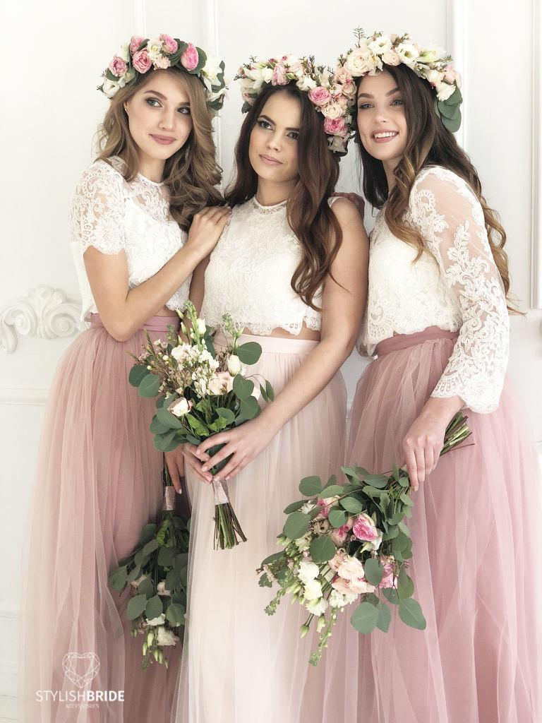 d2d48c4ae15 Blush Palette Bridesmaids Lace Dress, Long Blush Bridesmaids Skirts, Lace  Crop Top and Tulle skirt long in blushes, Blush Prom Dresses