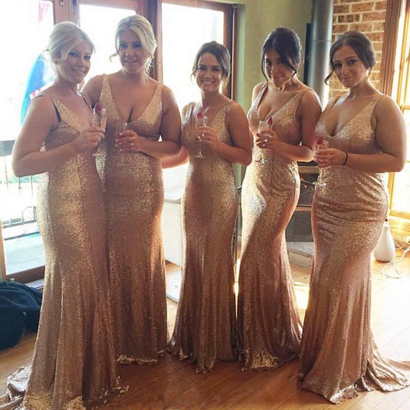 زفاف - Rose Gold bridesmaid dress, sequin bridesmaid dress long, sequin dress women plus size