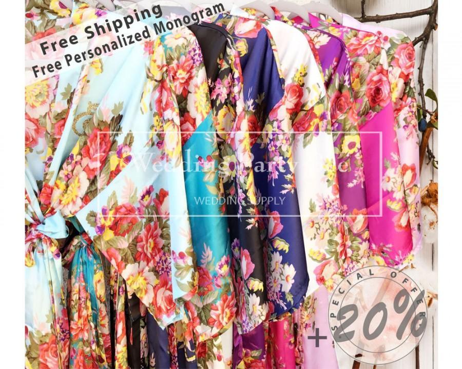 زفاف - SALE! Bridesmaid Robes, MIX Colors, Wedding Gift, Bridal Party Robes, Set of Bridesmaids Robes, Silk Bridesmaid Robe,  FREE Fast Shipping
