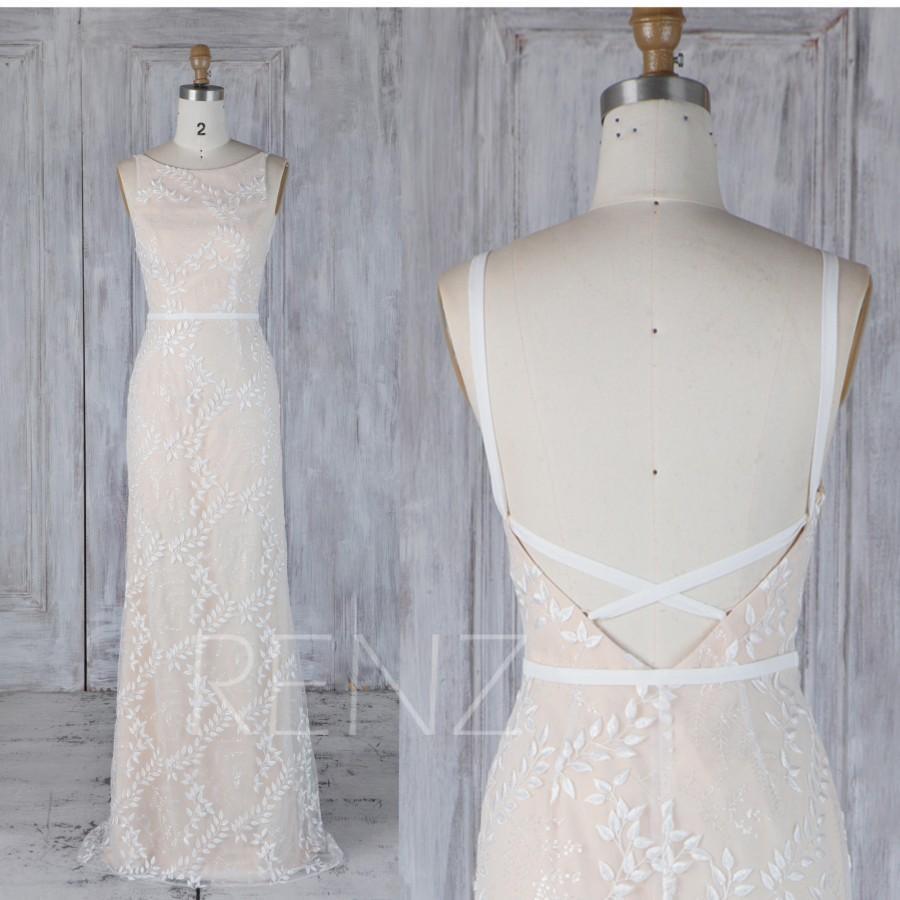 زفاف - Off White Lace Wedding Dress,Champagne Bridesmaid Dress,Convertible Criss Cross Strap Bodycon Dress,Round Neck Infinity Party Dress,(LW308)