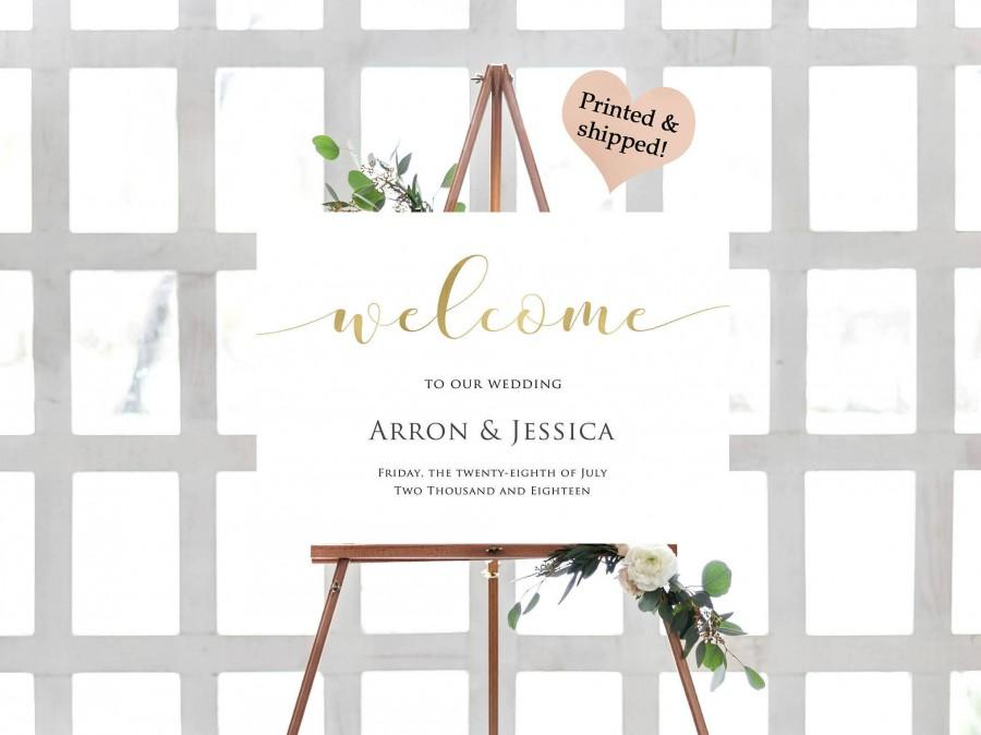 زفاف - Gold Foil Welcome Wedding Sign- Rustic Welcome To Our Wedding Sign- Rustic Wedding Sign- Printable Wedding Signs- Bohemian Welcome Sign