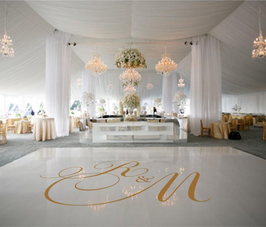 Hochzeit - Dance Floor Decal, Wedding Decor, Wedding Decoration, Monogram Decal, Wedding Floor Decal, Dance Floor, Wedding Dance Floor Decal -  DFD0008