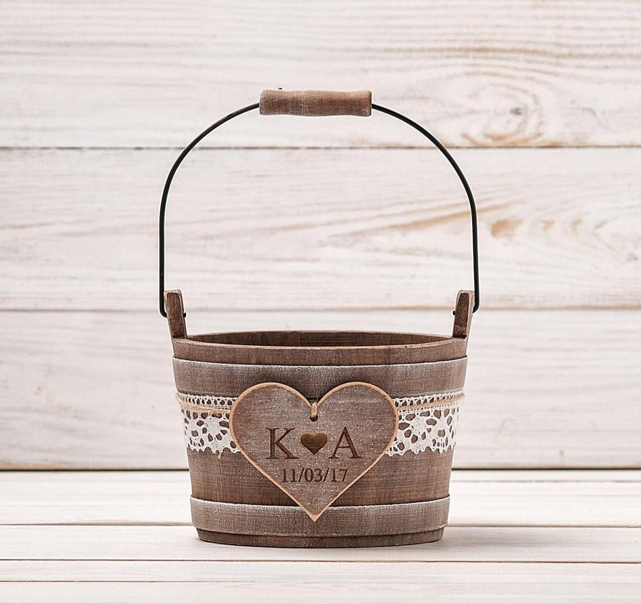 زفاف - Personalized Flower Girl Bag Flower Girl Basket Rustic Wedding Bucket Wedding Basket Bridal Basket Flower Bucket Flower Girl Pail and Bearer