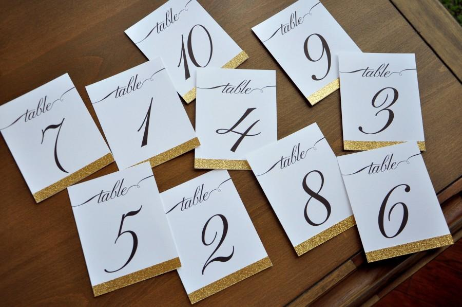 Table Numbers For Wedding Gold 1 10 Or More Cursive Number Handmade In 2 5 Business Days Cards