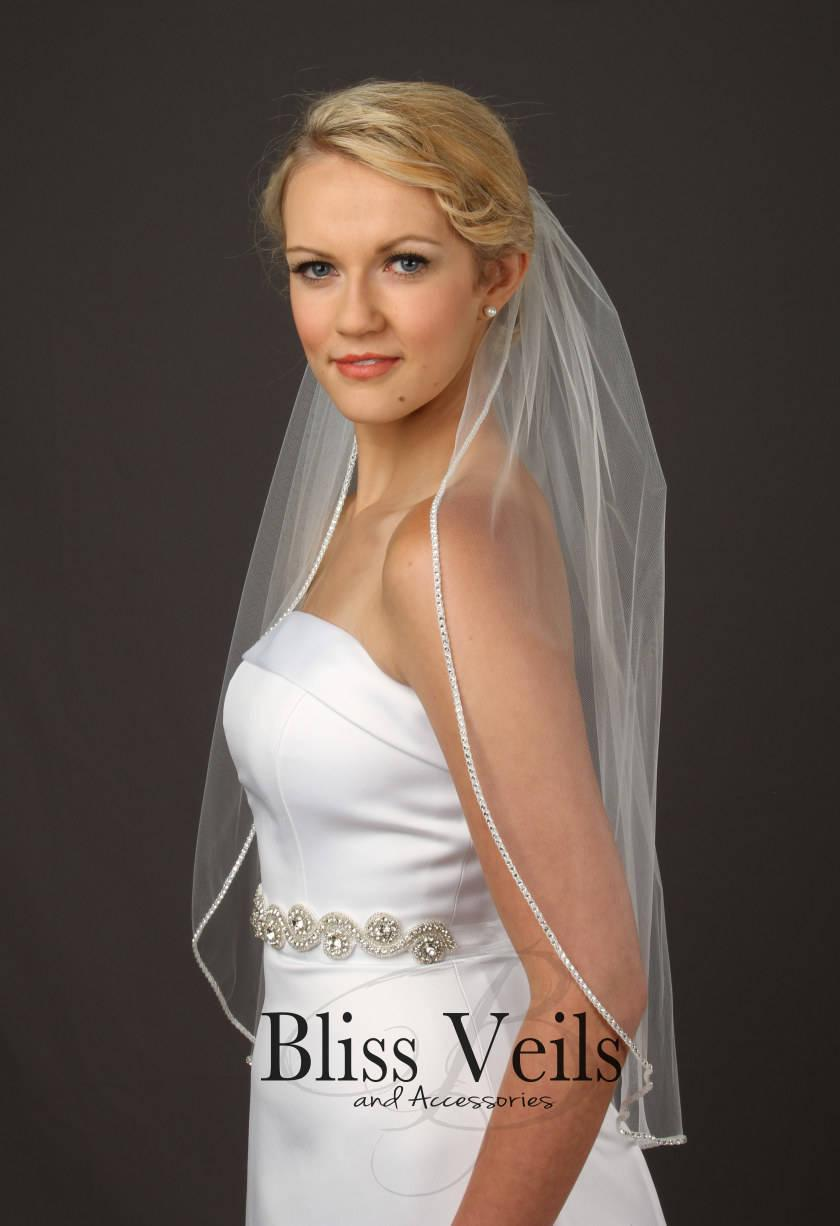 Mariage - Crystal Beaded Veil, Soft Wedding Veil, Single Tier Veil, Bridal Veil, Chapel Length Veil - Available in 10 Sizes & 10 Colors!