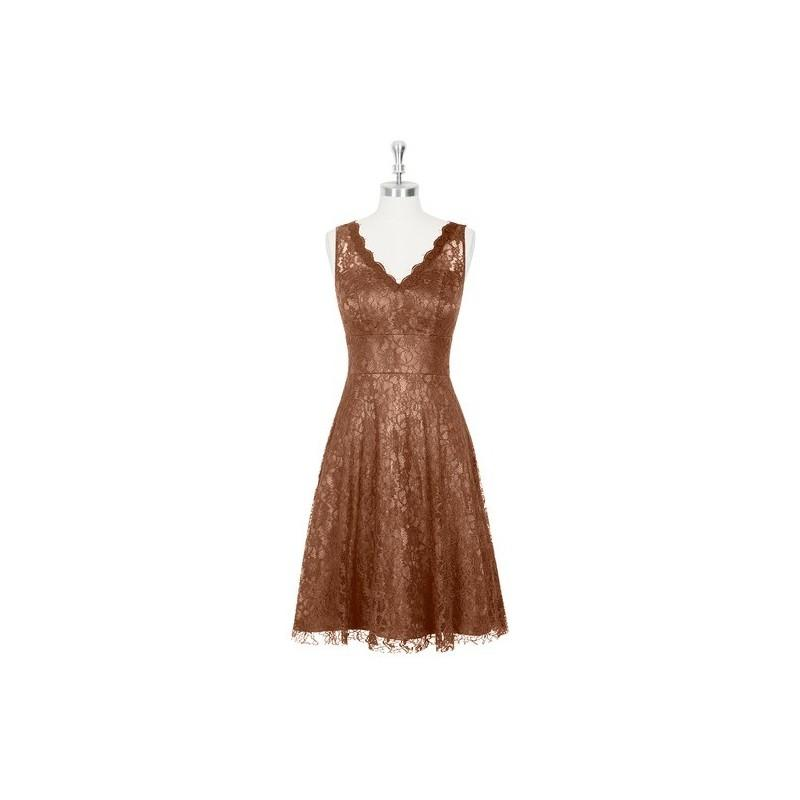 Hochzeit - Brown Azazie Alma - Illusion V Neck Lace Knee Length Dress - Charming Bridesmaids Store