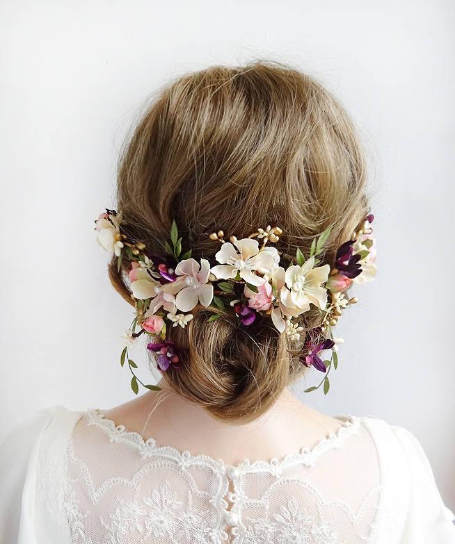 Свадьба - floral headpiece wedding, bridal hair piece flower, hair pieces for wedding, flower hair clip wedding, wedding headpiece, purple and pink