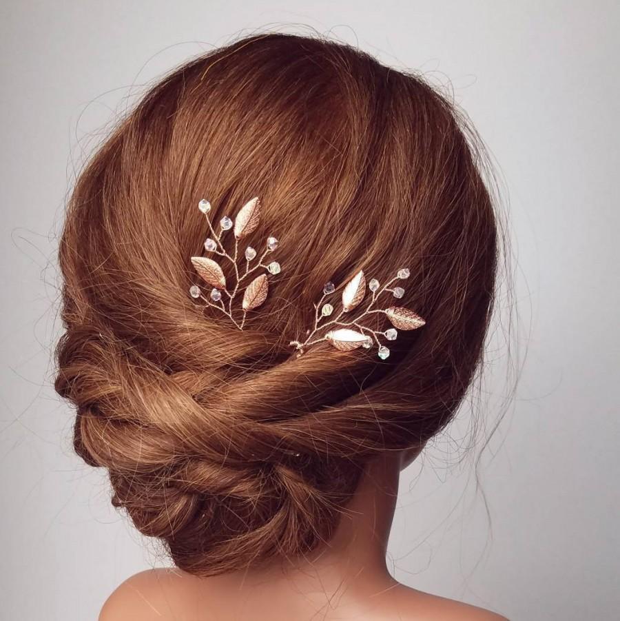 زفاف - Rose Gold Hair Vine, Rose Gold Hair Comb, Bridal Hair Pins, Wedding Hair Piece, Leaf Vine, Vine Hair Pins, Bridal Accessory, Headppiece